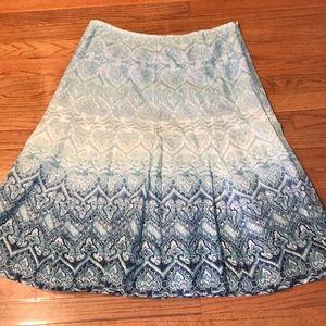 Liz & Co Skirt Ombré Sz 14 Fully Lined Blue Cotton